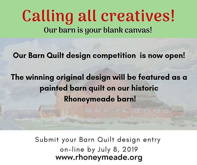 This is your chance to showcase your Quilt design skills! Accepting original barn quilt design entries to be featured on our historic barn.  Check out our website and mission, or better yet, come visit us in a weekend - and then allow your design to reflect the legacy that is the foundation of Rhoneymeade.  We can't wait to see your creations!  The winning design will be featured as a painted wooden Barn Quilt on our historic barn in Central Pennsylvania. #barnquilt #centralpa #Barn #quilt #quiltdesign
