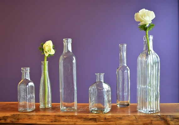 """Vintage Vase Collections  $2/each  Range of sizes and styles, tallest bottle stands at 10.5""""  48 available"""