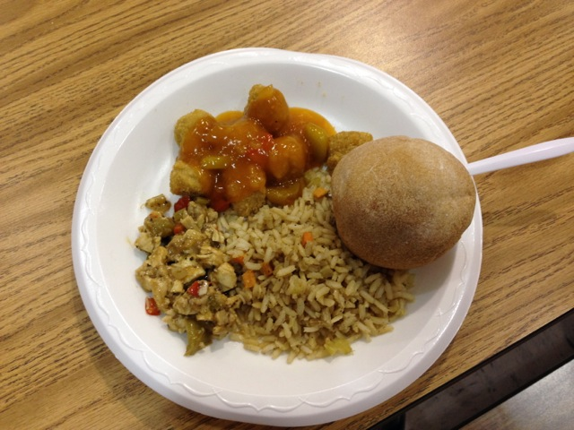 Sweet & sour chicken, chicken gumbo, rice, and fresh-baked bread.
