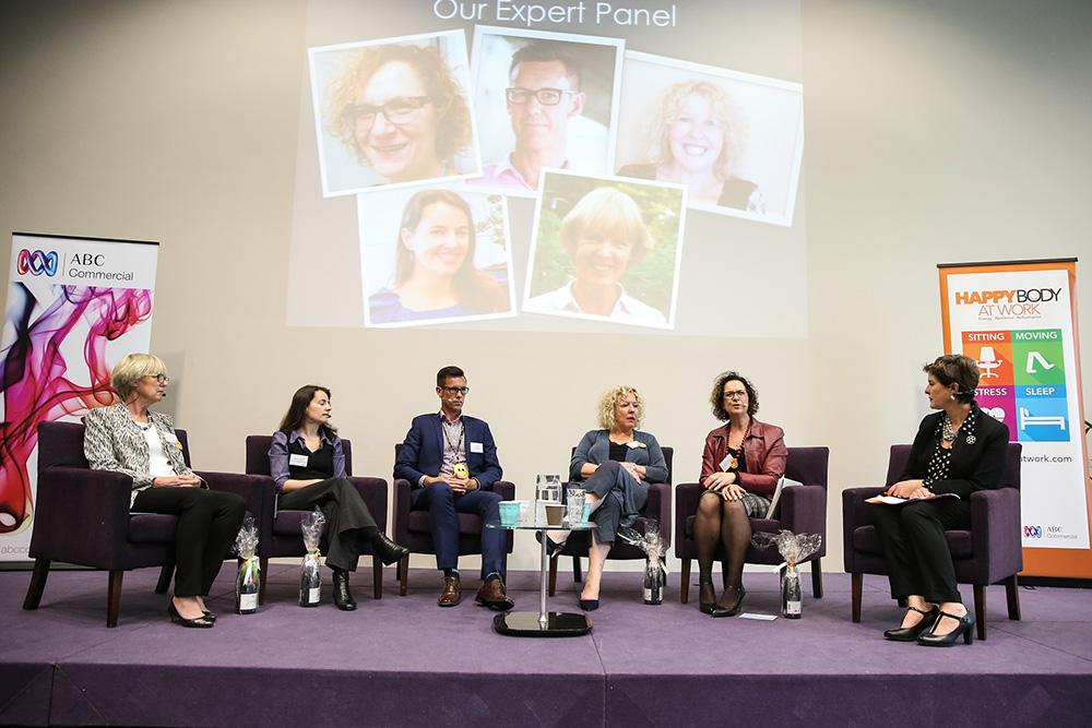 Our expert panel L-R: Wendy Carver (Lifeline) Sharon Leadbetter (WHPN), Troy Morgan (Vision Health), Megan Kingham (Optus), Julia Cohen (Sydney Uni), Anna-Louise Bouvier (HBAW)