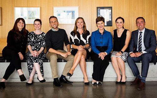 L-R: Lauren Valvo, Melissa Raby, Edmund McCombs, Jane Gardner, Anna Louise Bouvier, Mary Sanderson, Tim Campbell