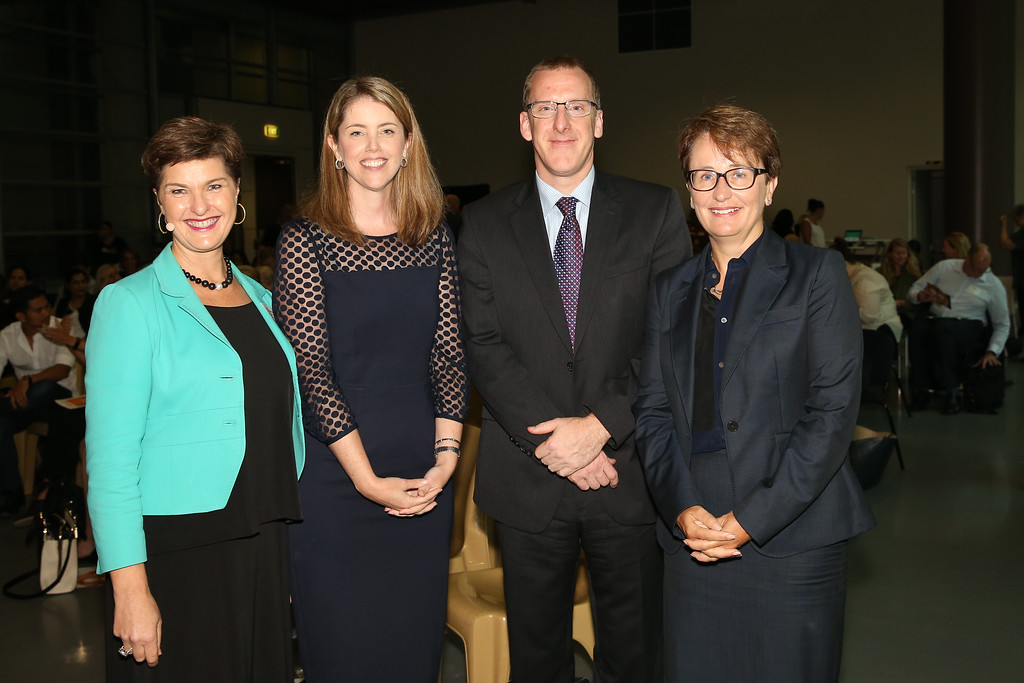 Our speakers: Anna-Louise Bouvier (HBAW), Cate Harris (Lendlease), Ben Murray (Optus), and National Mental Health Commissioner, Lucy Brogden