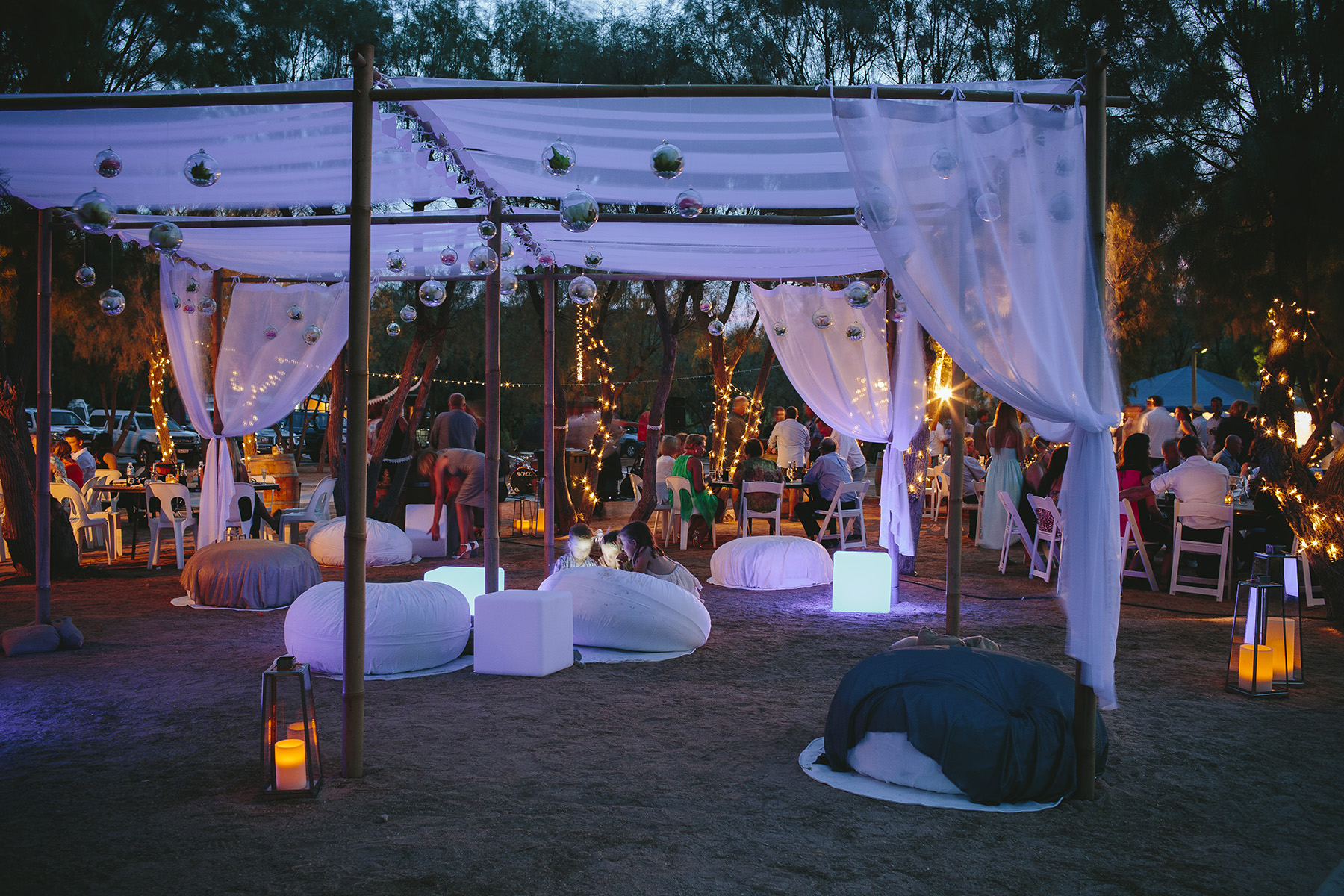 Bamboo Marquee, Ottomans, Led Cubes, Lanterns, Hanging Glass Baubles