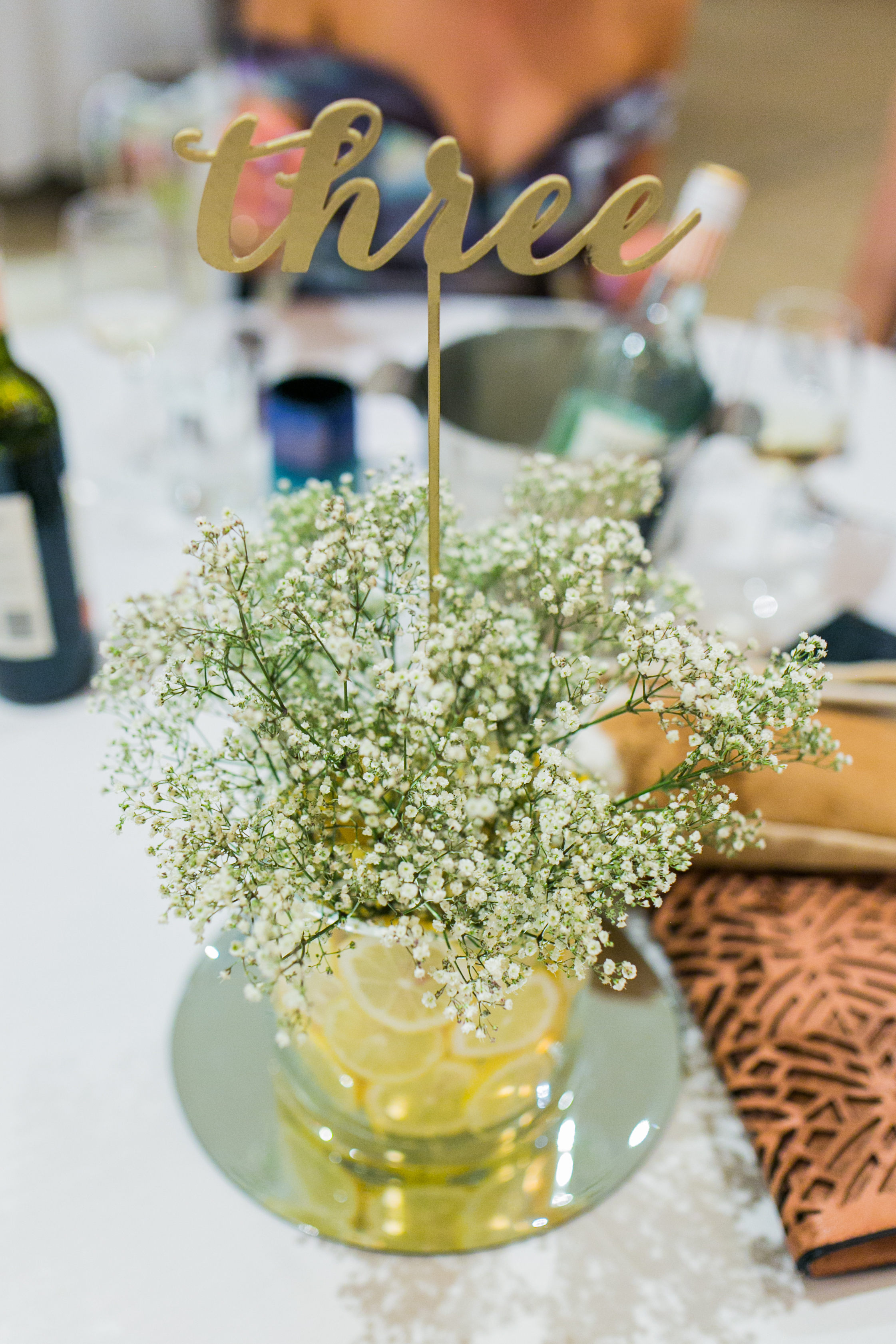 Glass Vases, Round Mirrors & Gold Stencil Table Numbers