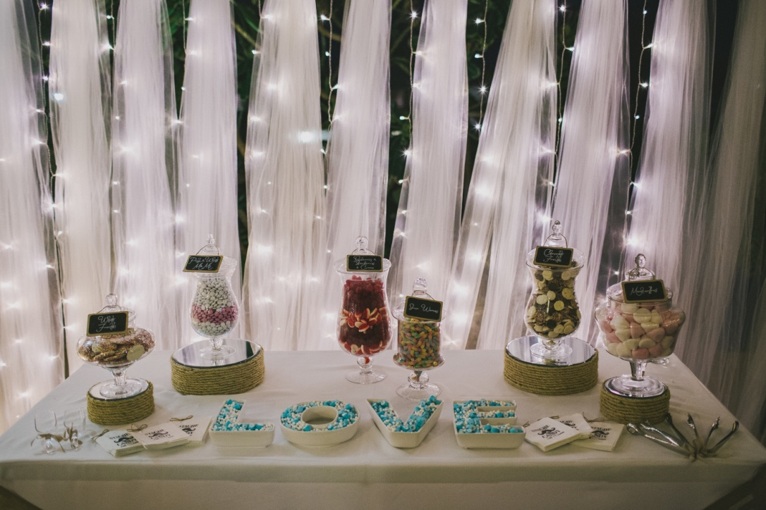 Candy Jars, Tulle & Fairy Light Backdrop