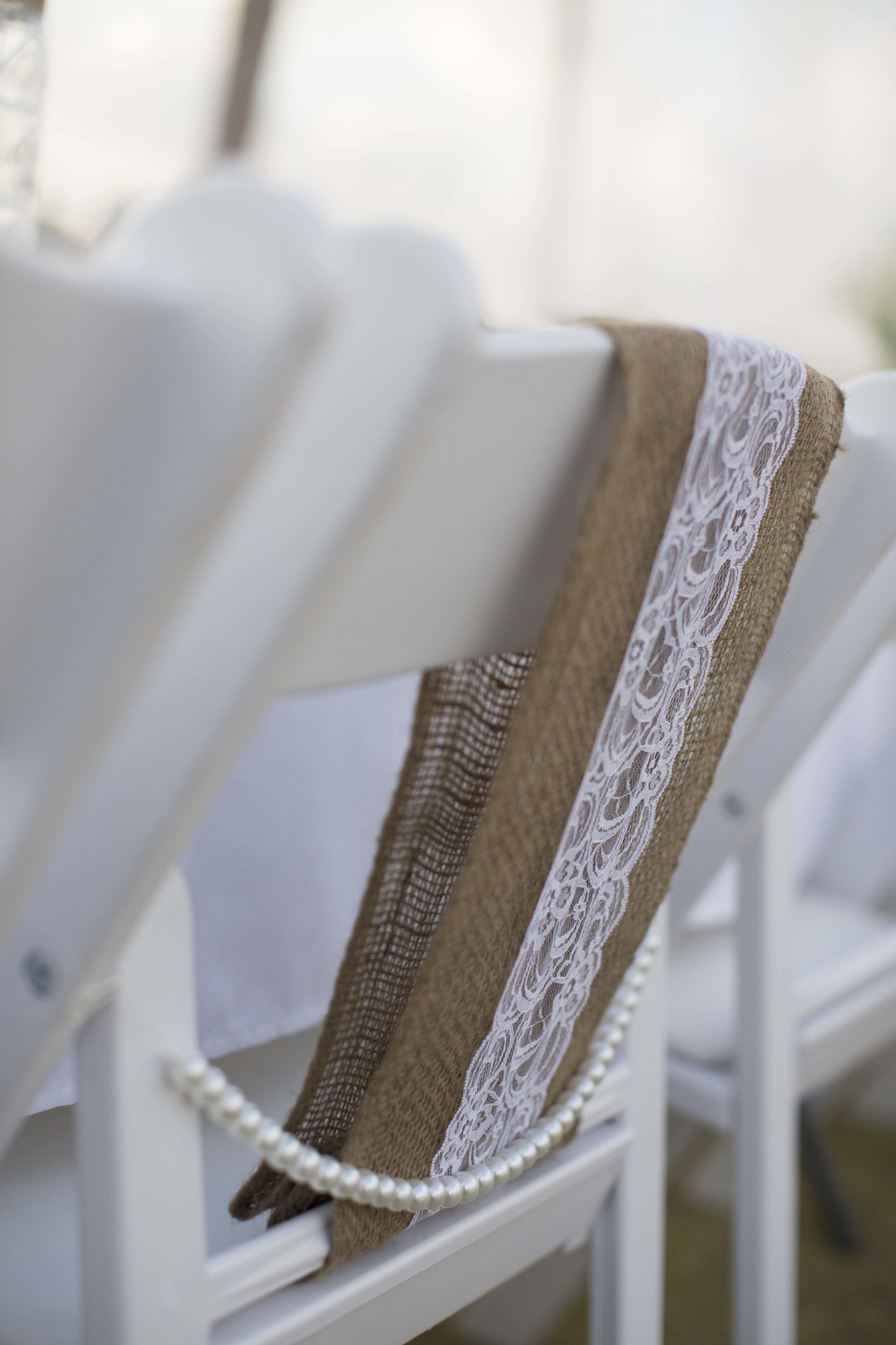 Hessian & Lace Chair Sash With Pearl Drape