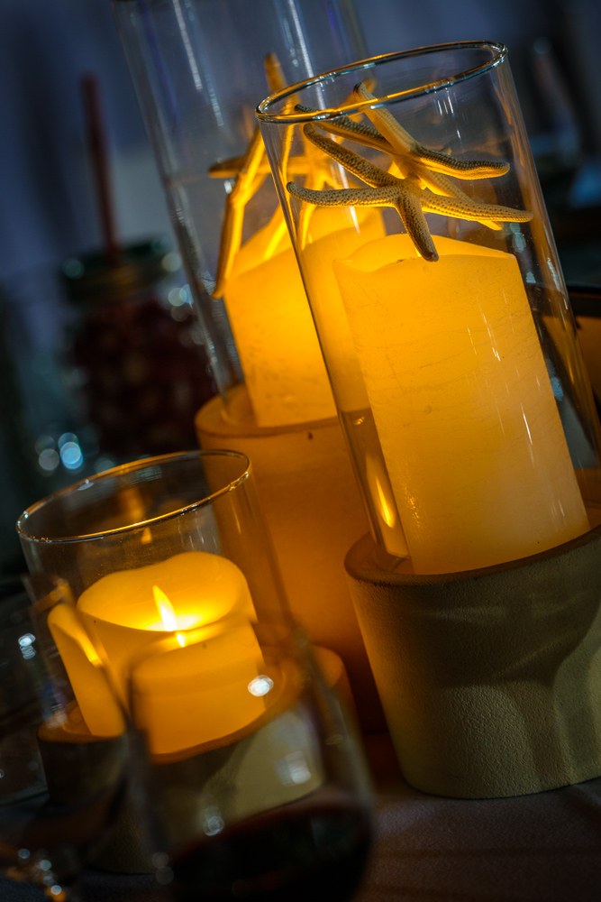 Stone Bases & Hurricane Cylinders, LED Candles & Starfish