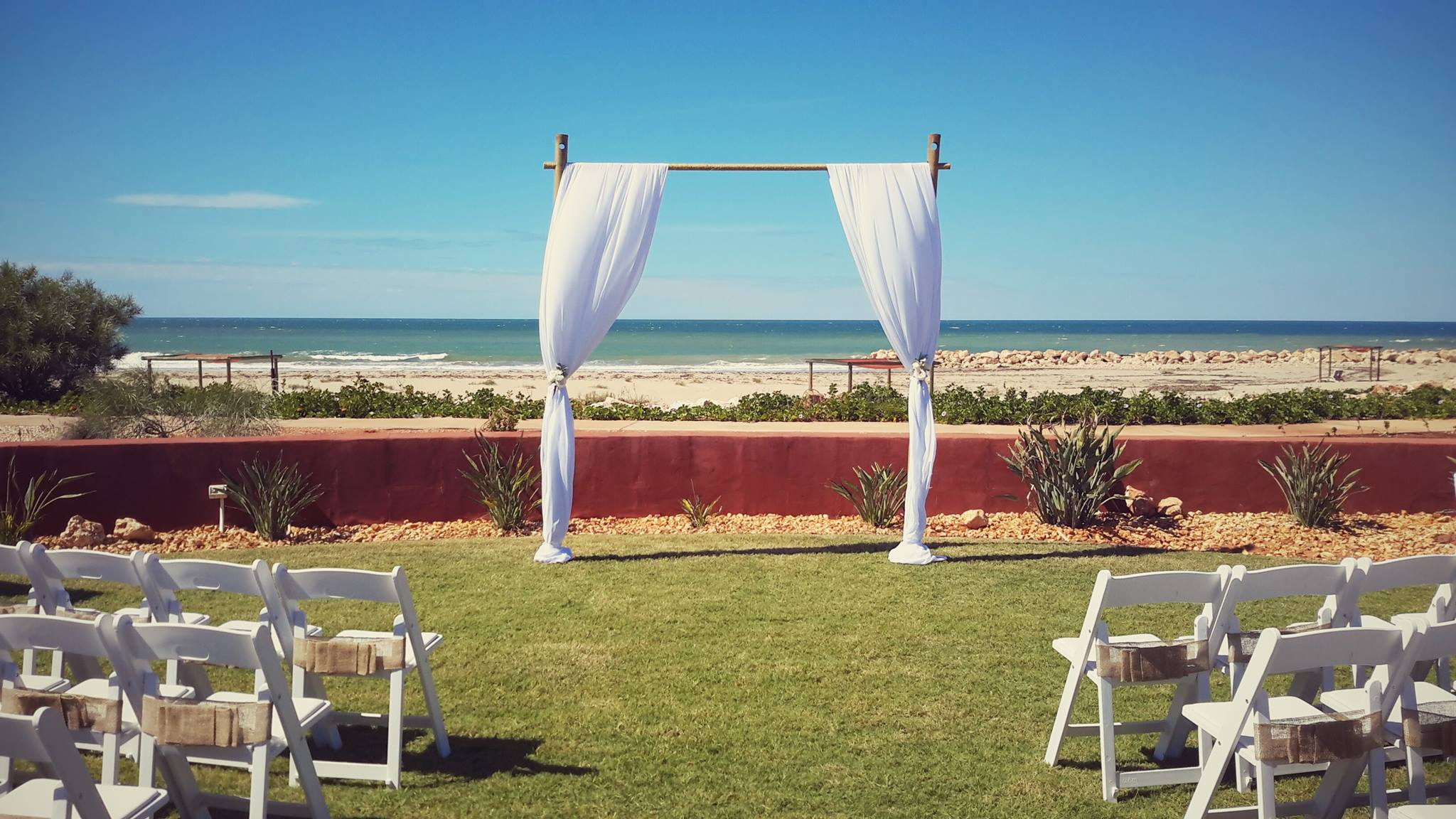 Bamboo Arch, Gladiator Chairs With Hession Bow Sash
