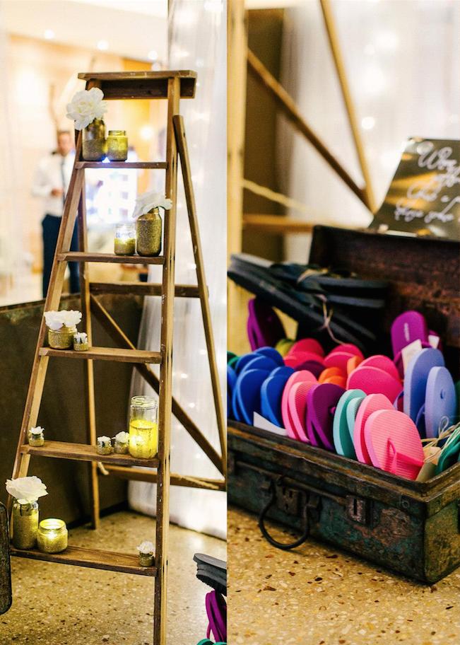 Vintage Ladder & Gold Glittered Jars, Artifical Flowers & Vintage Suitcase