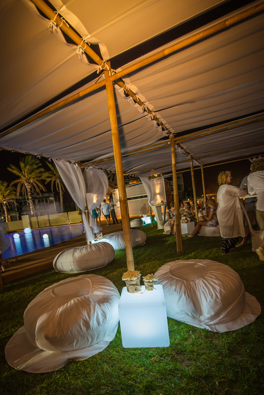 Bamboo Marquee, Ottomans, LED Cubes