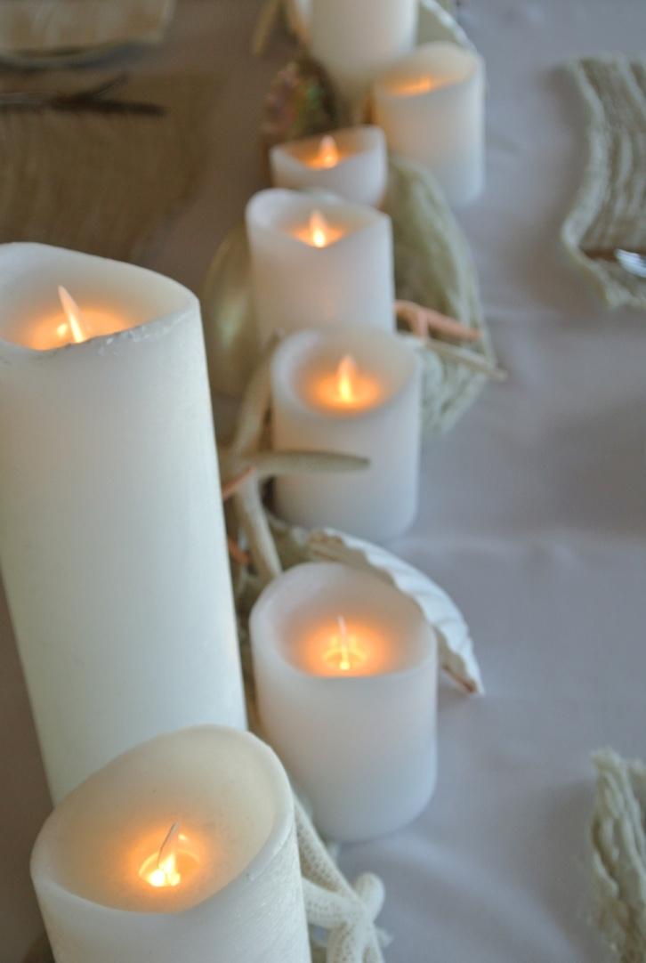 Led Candles, Shells & Starfish, Image Salt & sand Event Hire