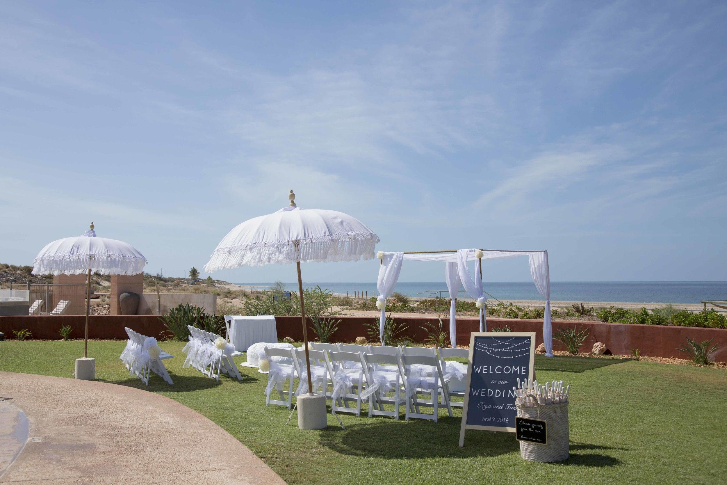Bohemein Umbrellas, Love Structure, Gladiator Chairs, Customised Board,