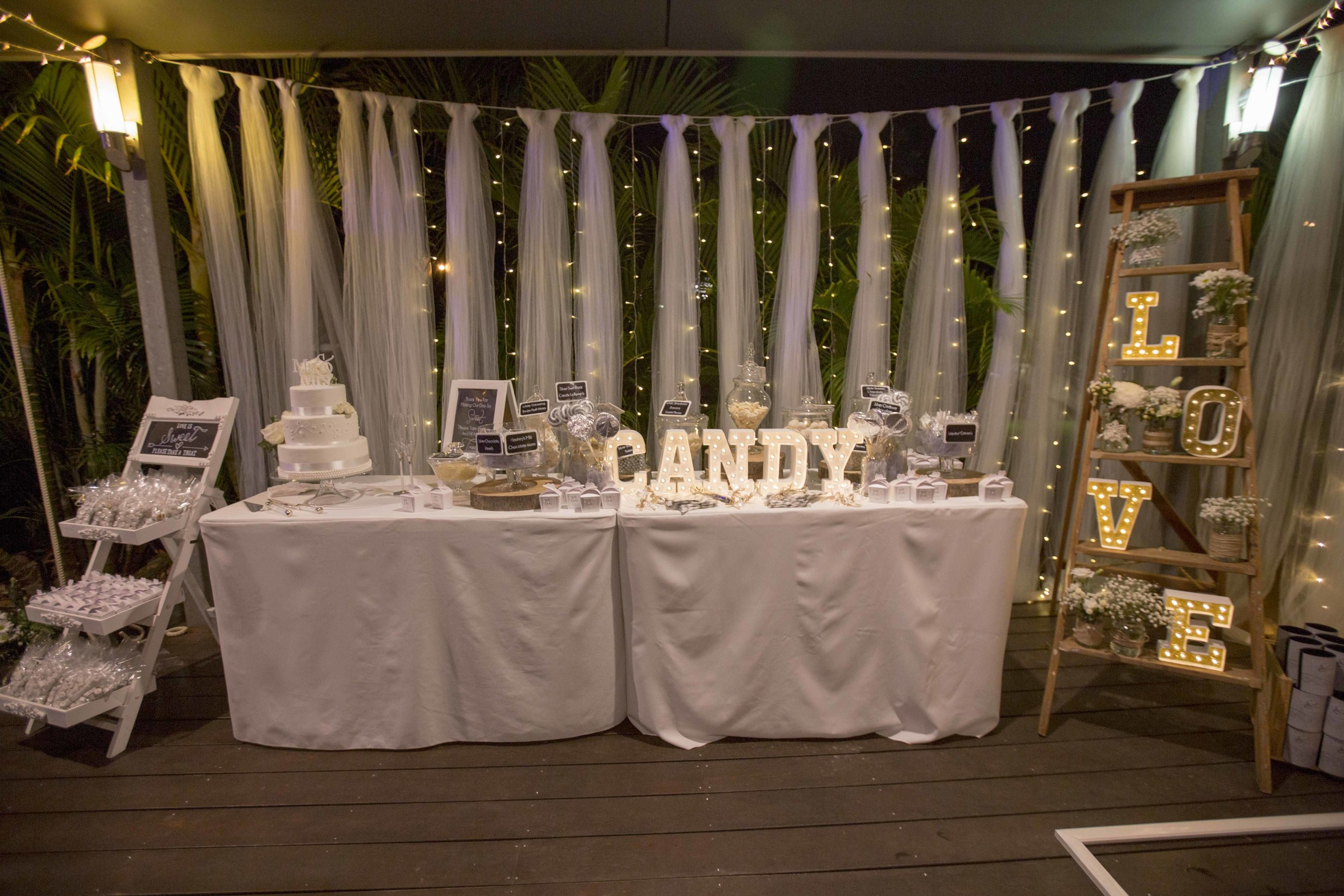 Tulle & Waterfall Fairy Light Backdrop, Customised Candy Bar,