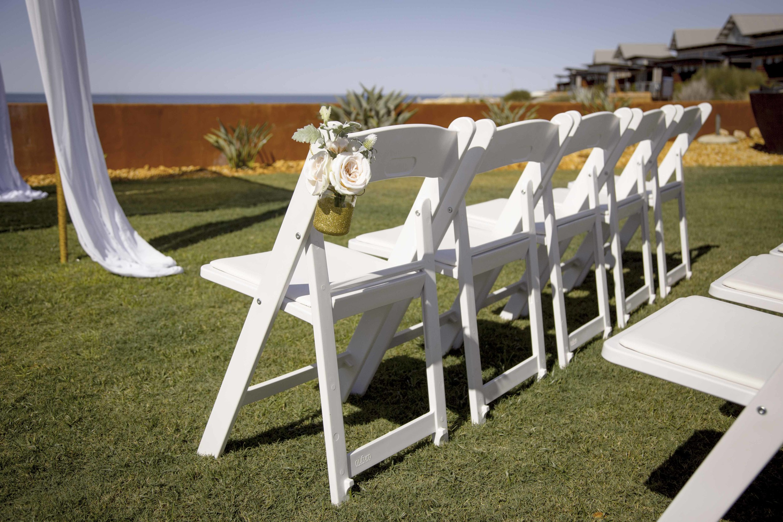 Gladiator Chairs, Hanging Vase & Artifical Floral Arrangement