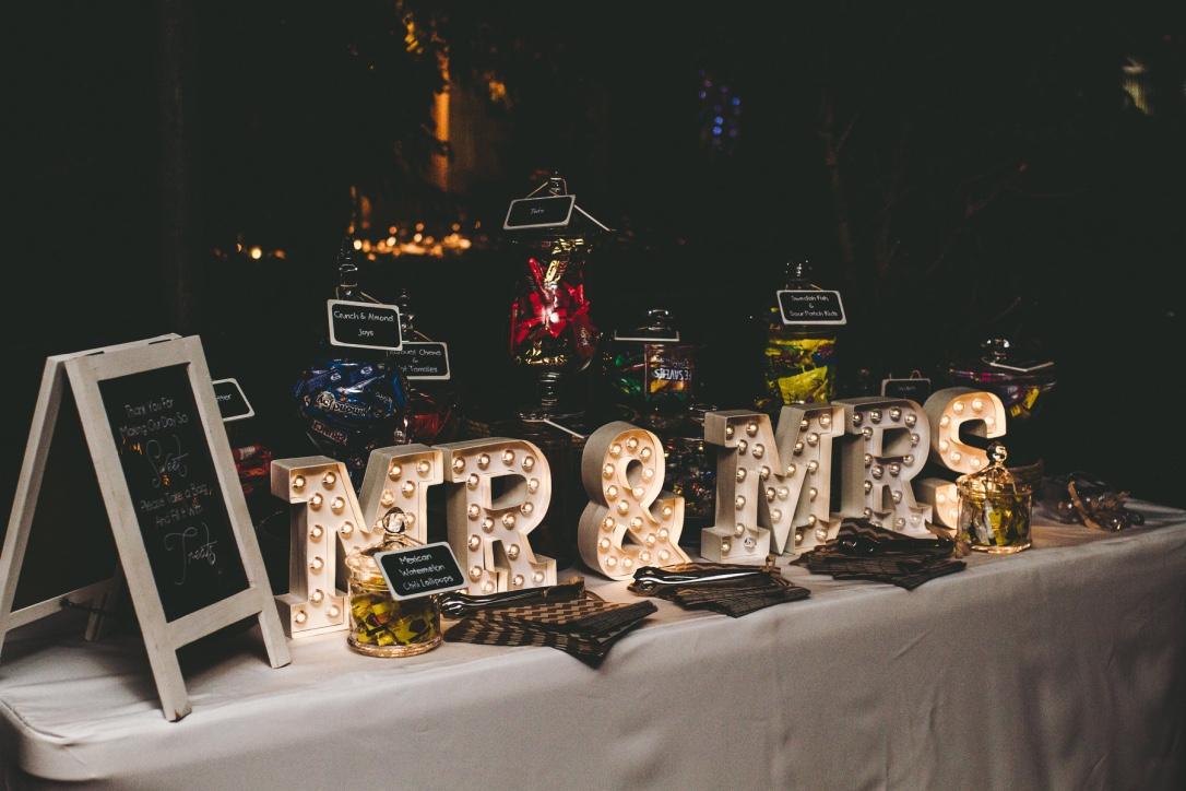 Customised Candy Bar, MR & Mrs LED Lights
