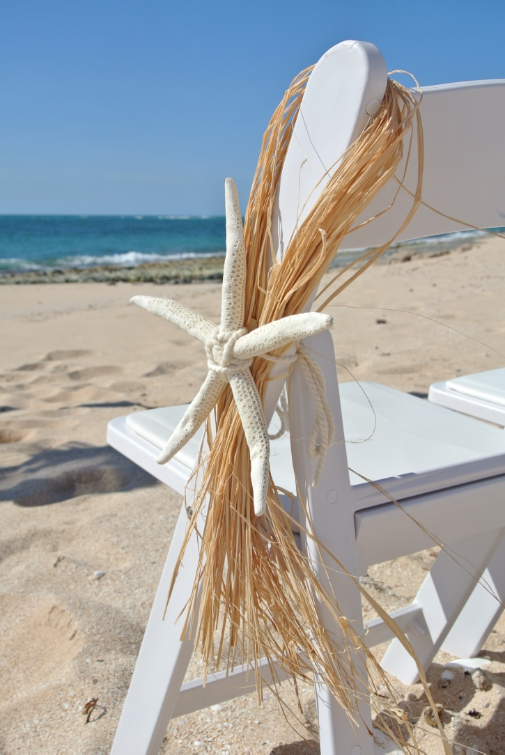Gladiator Chair with Large Starfish & Raffia Tie