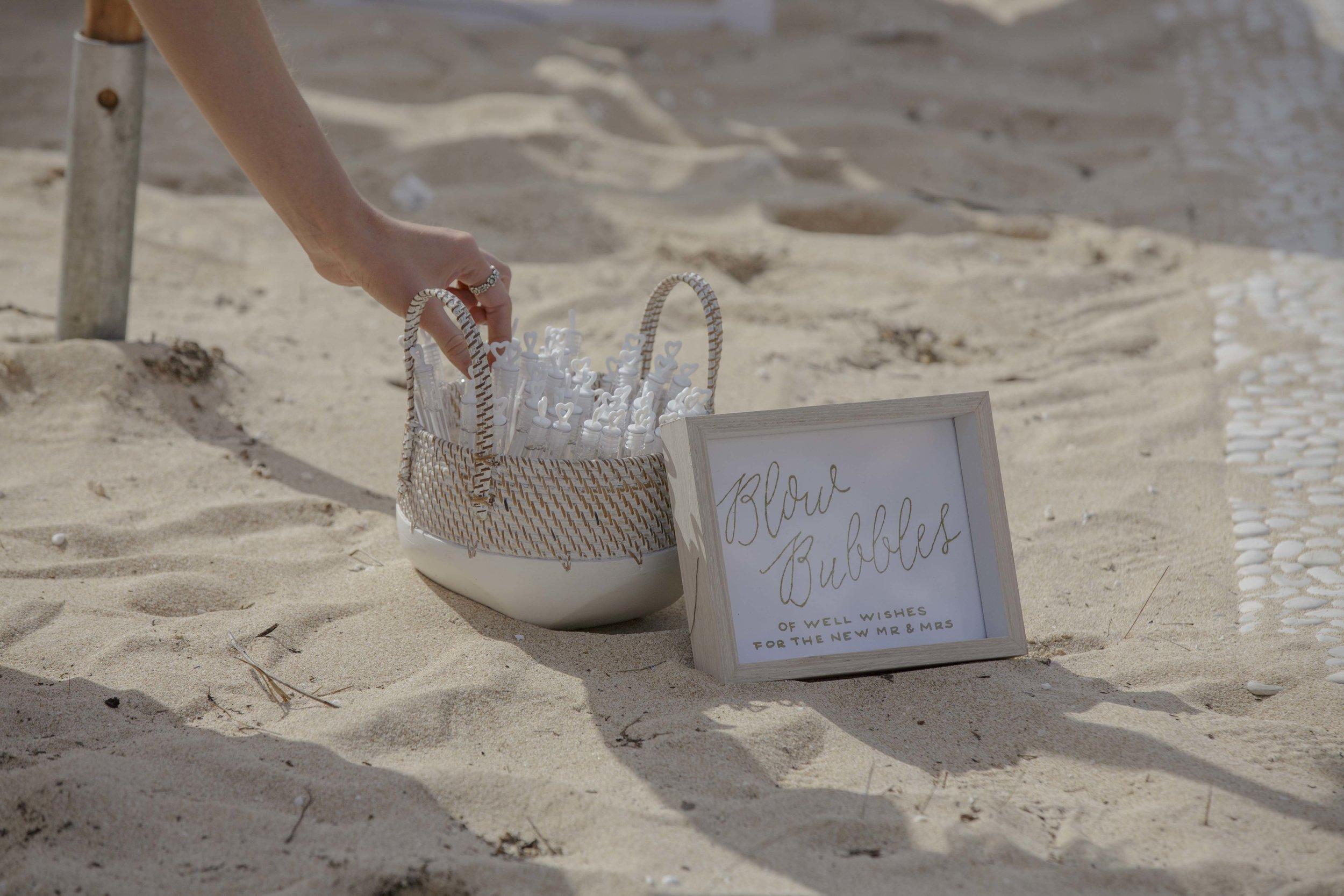Small White Washed Basket & Customised Sign