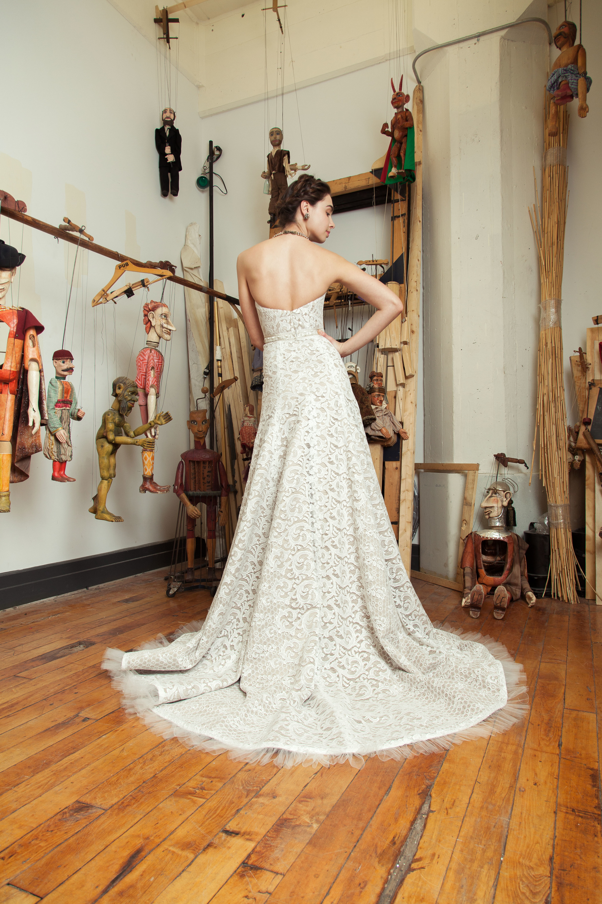 Swanilda gown with embroidered bow belt