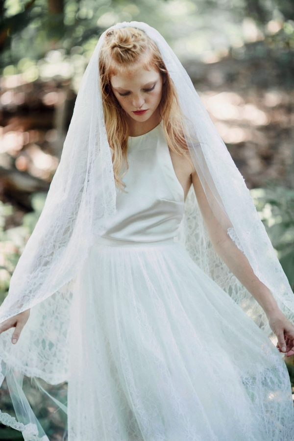 Tombe top with Jean skirt and Brittany veil