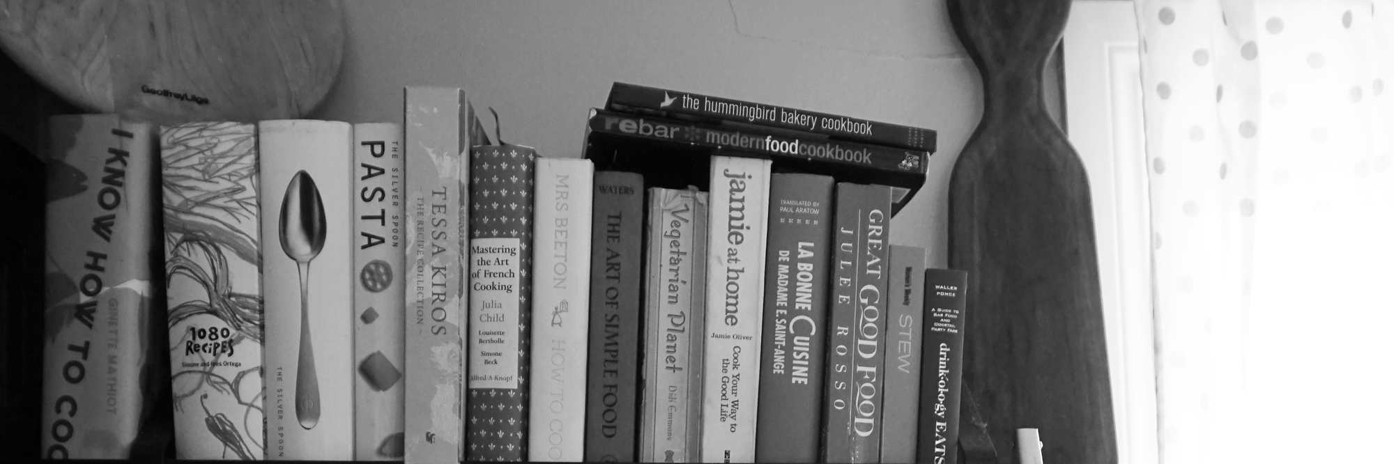 Black and White Cook Book Vignette