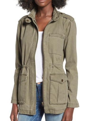 An anorak jacket in olive green