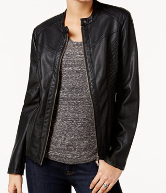 Black faux-leather jacket