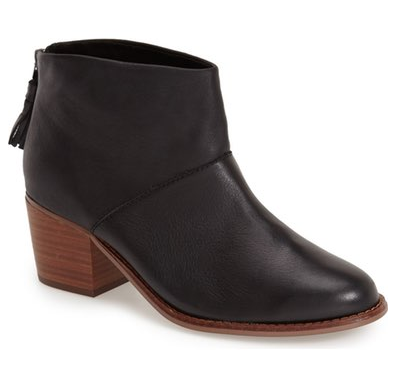 TOMS Black Leather Bootie