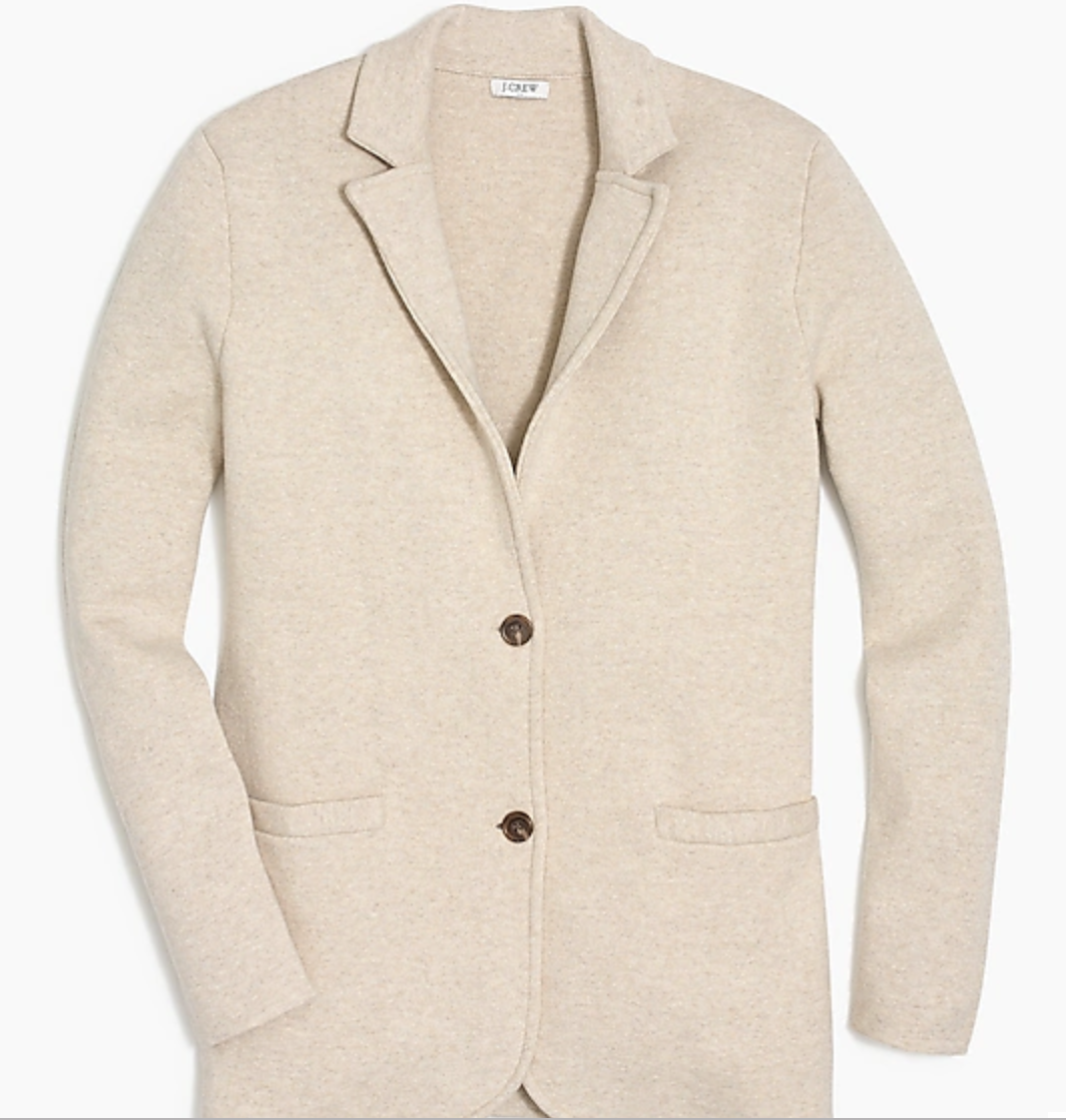 I wear this open with the collar up for a more modern look. Size down for a tailored fit. I have this in navy too.