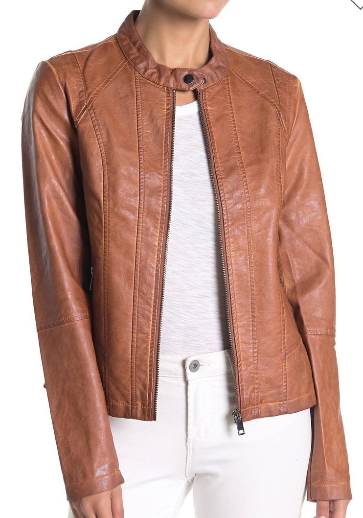 I love a great faux leather jacket. This one has stretch knit panels on the waist and under the arms for a great fit. No shocker - I also own it in black. ;)