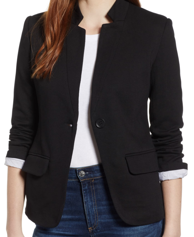 I bought this jacket in a pinch when I was on the search of a new black faux leather jacket. I love the collar and the stripe lining. It's a knit, which means it's super comfortable.