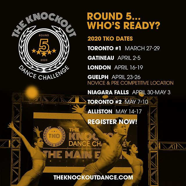 WE ARE SO EXCITED FOR ROUND 5 TKO 2020!!! We would like to introduce our very first NOVICE AND PRE COMPETITIVE LOCATION APRIL 23-26/2020 at the Delta Guelph Hotel & Conference Centre For more information contact us at info@theknockoutdance.com 🥊🥊🥊 #tkoround5 #tko2020 #tkoguelph #tkoyear5