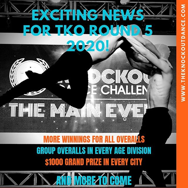 EXCITING NEWS FOR TKO ROUND 5!! More winnings for overall awards, group overalls in all age divisions, $1000 grand prize for both 12& Under and 13& Over in each city and much more to come!!! Contact us for more information at info@theknockoutdance.com. WE CAN'T WAIT TO CELEBRATE WITH YOU AT TKO 2020 🥊🥊🥊 REGISTER NOWWWWW!! #tko2020 #tkoround5