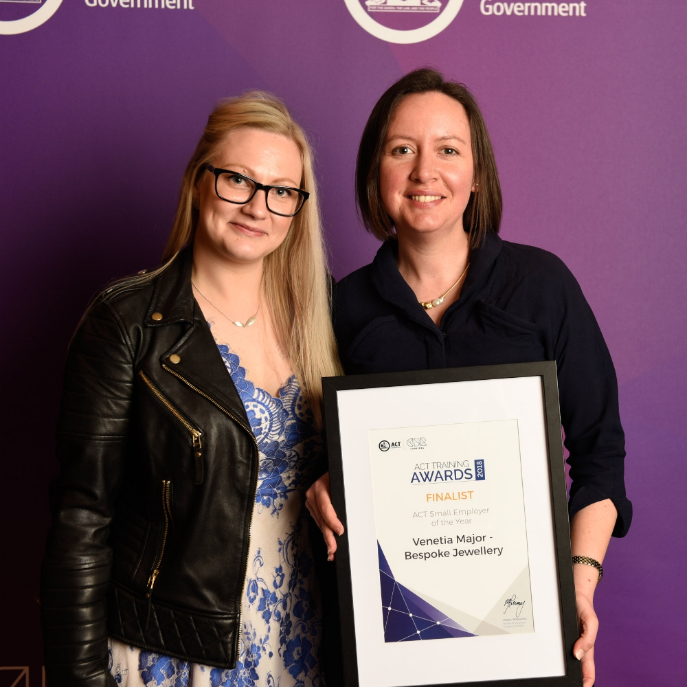Venetia and Kelsey receiving the award for Finalist in the ACT Small Employer of the Year category at the 2018 ACT Training Awards.