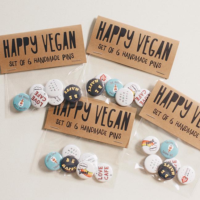 Handmade Vegan Pin Set -
