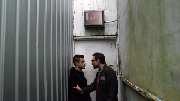 """Elliot Alderson (Rami Malek) with Mr. Robot (Christian Slater) in """"Mr. Robot"""" on USA Network."""