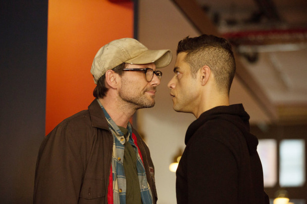 Christian Slater as Mr. Robot, and Rami Malek as Elliot Alderson  (Photo by: Christopher Saunders/USA Network)