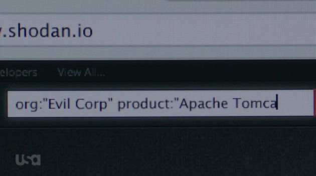 Mr. Robot searching for E Corp weaknesses. USA Network