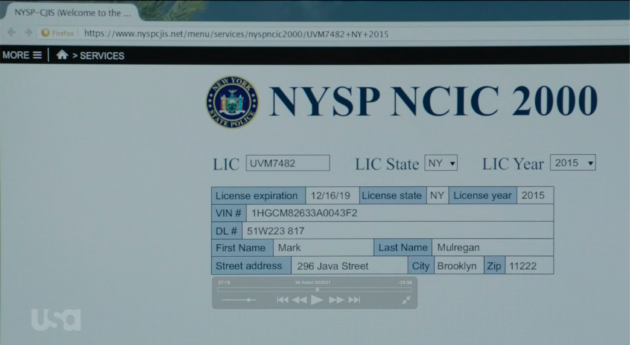 Looking up the FBI SUV VIN number ( USA Network)