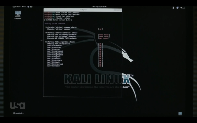 Figure 6: rkhunter fails to find a rootkit on Elliot's computer.  (USA Network)