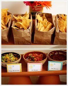 Salsa Bar with individual bags of fresh tortilla chips