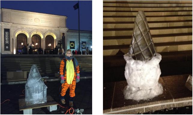 Wayne State University student, Natasha Krawinkle, next to her finished sculpture.