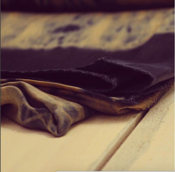 Modern Artisansal Textile developed using Shibori technique and organic indigo dyes.