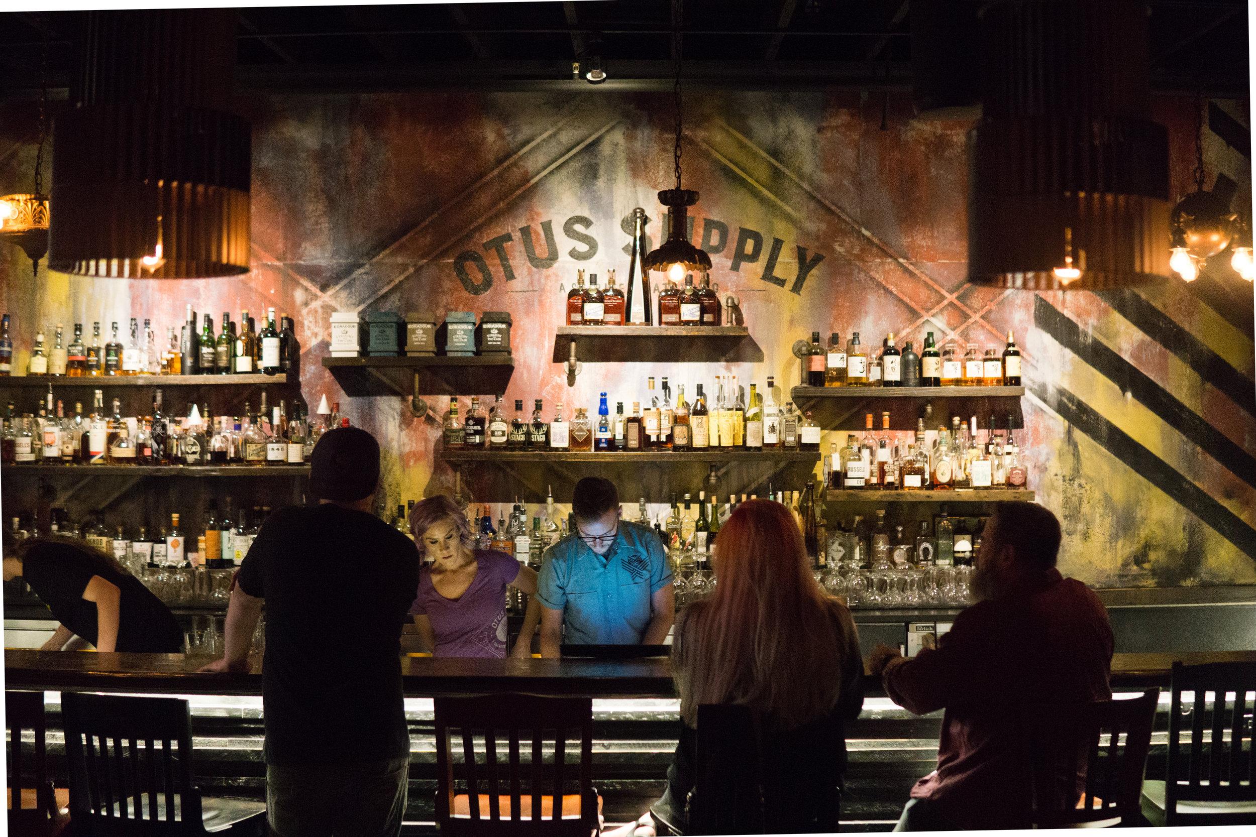 Whiskey bar at Otus Supply