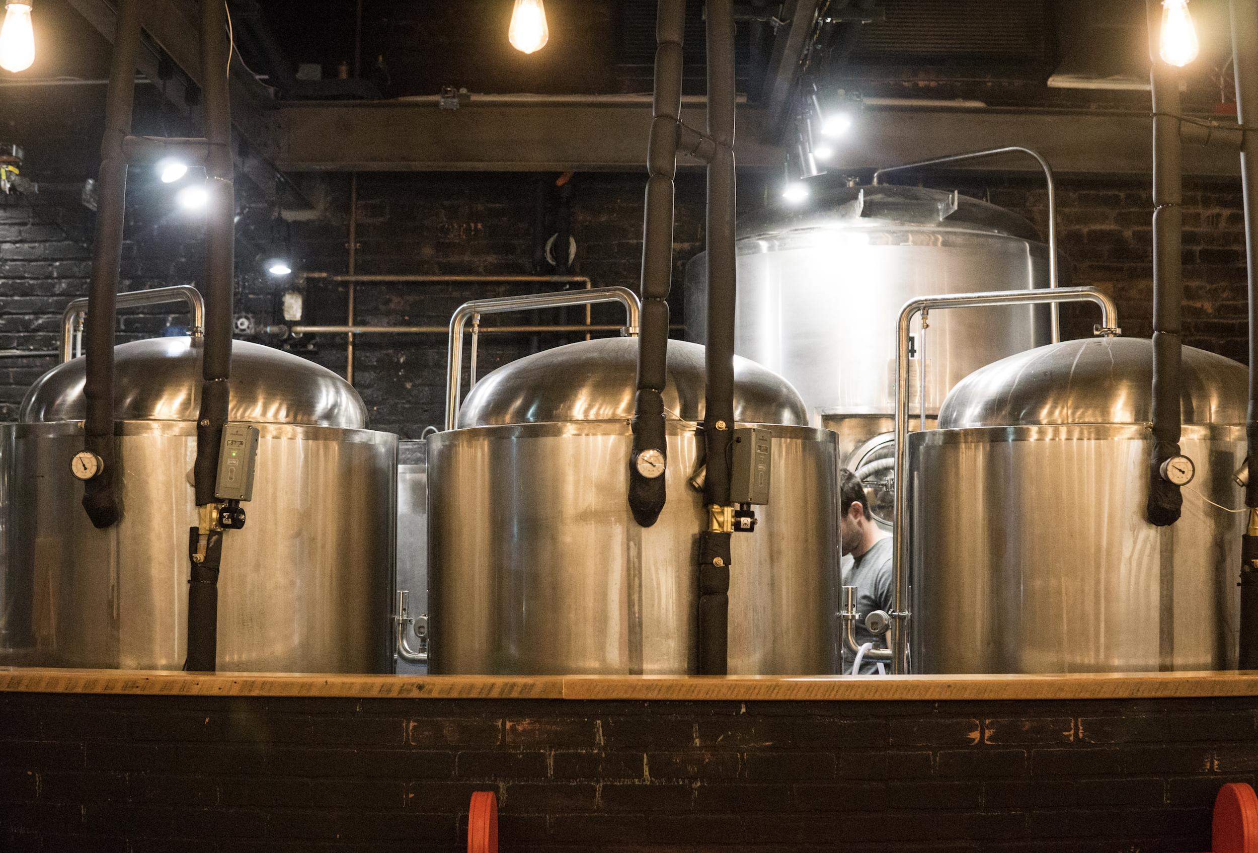 Beer brewing vats