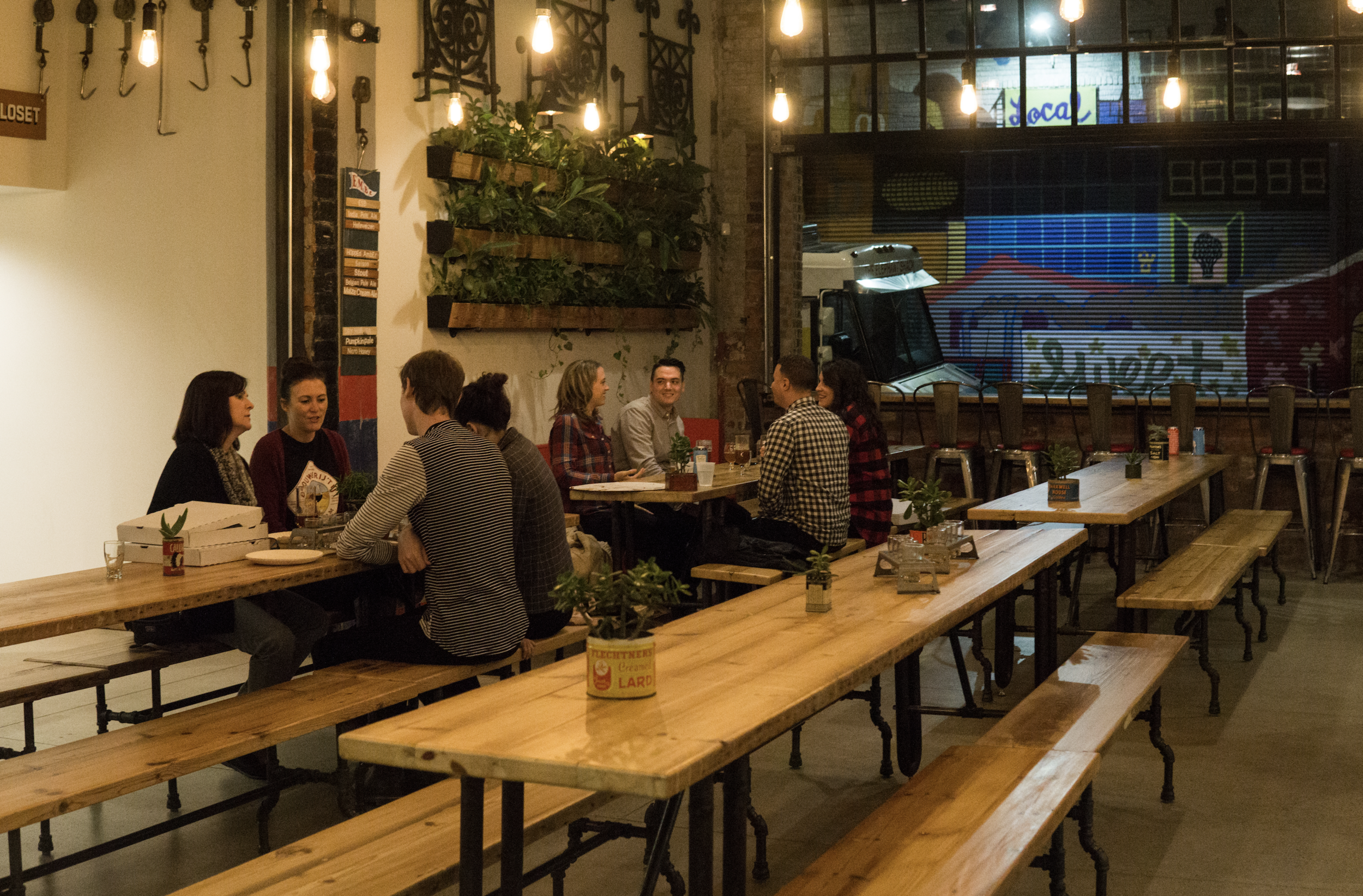 Communal tables at Eastern Market Brewing Co.