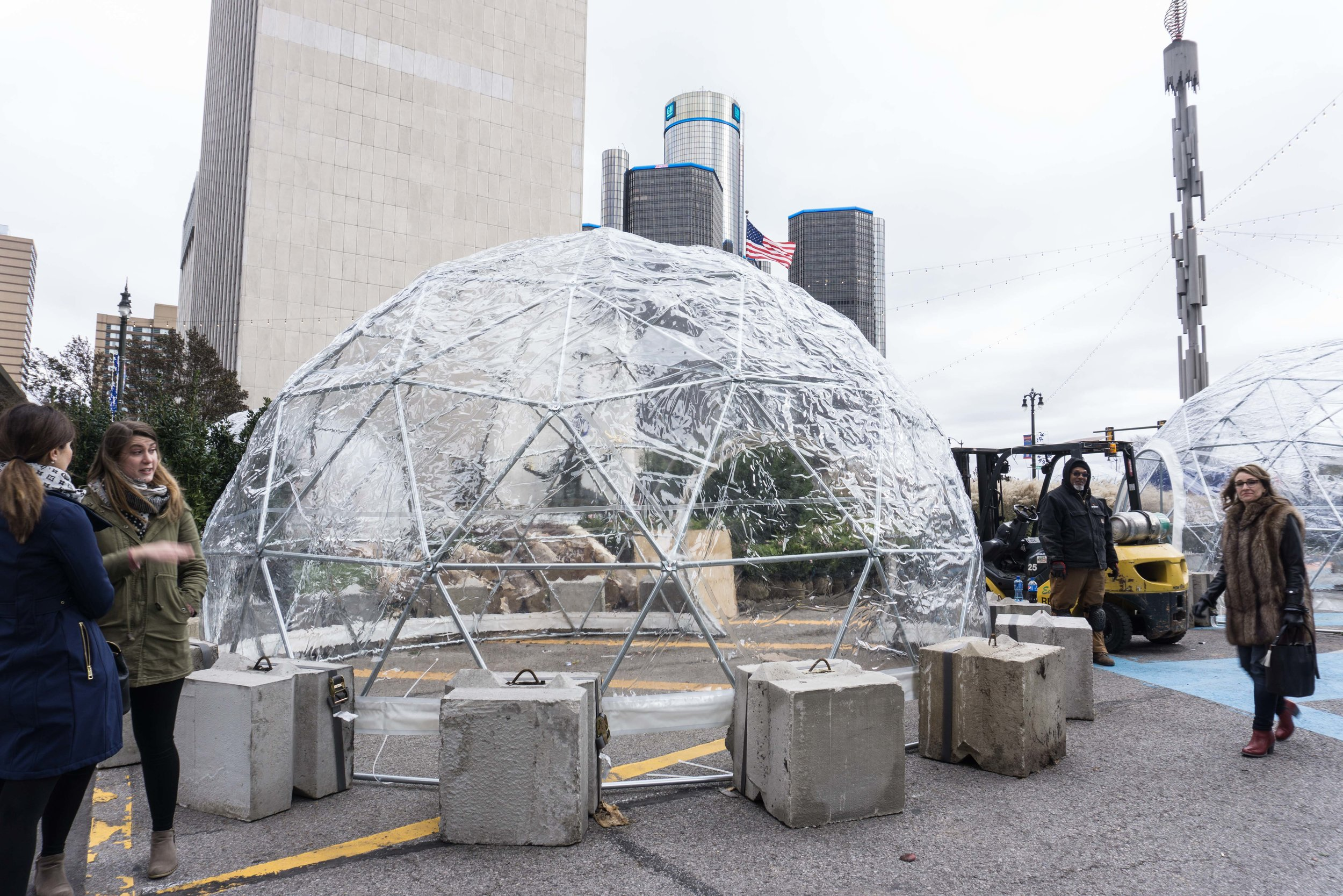 Igloos that will house local vendors.