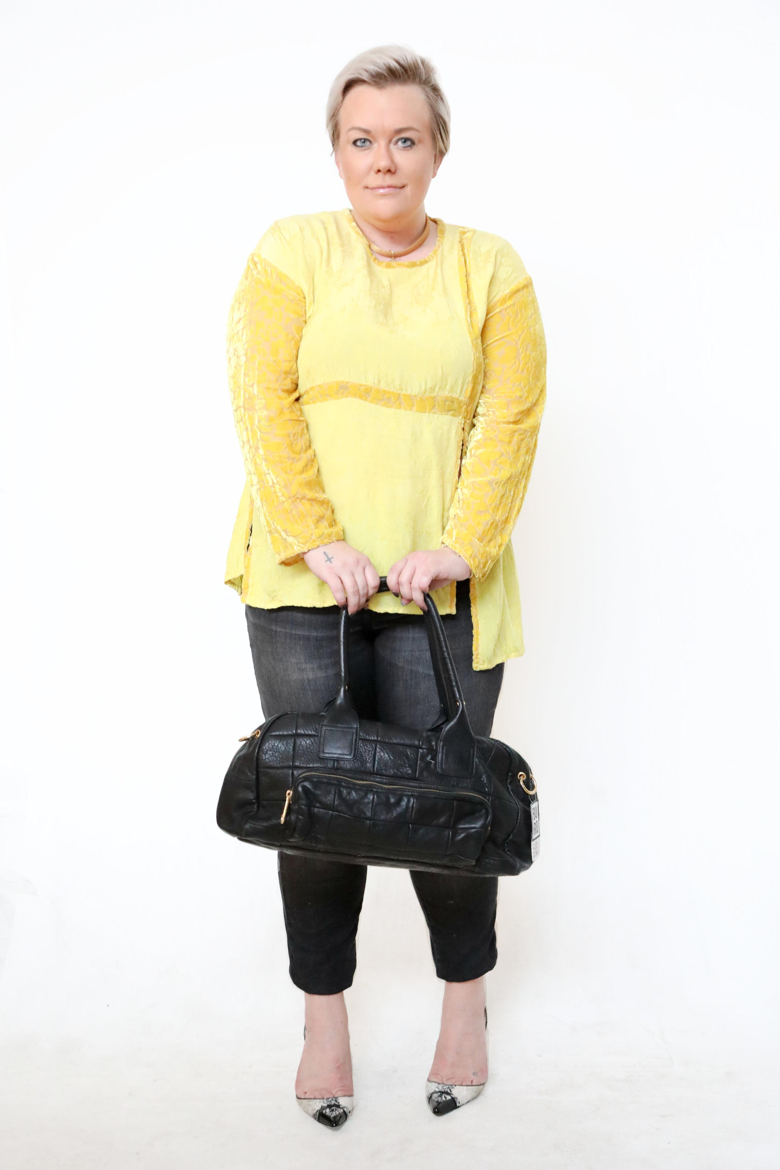Velvet & silk yellow top from Boro Resale.