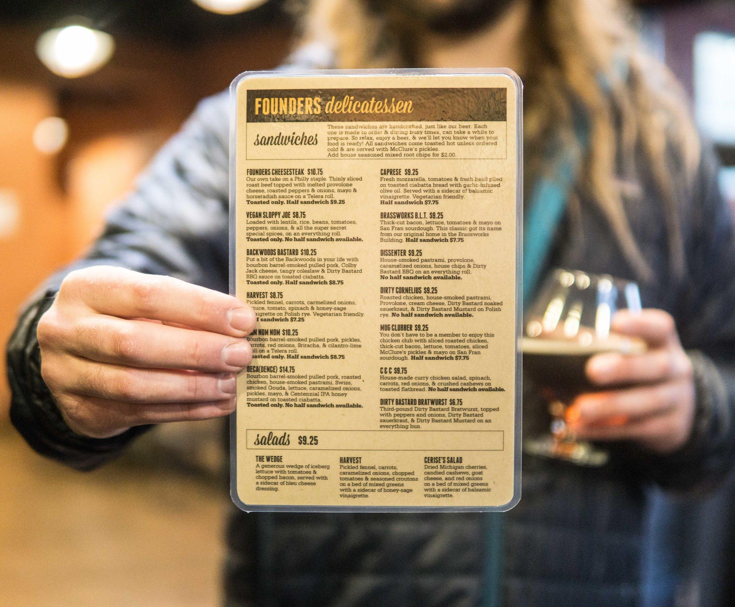 Founders food menu.