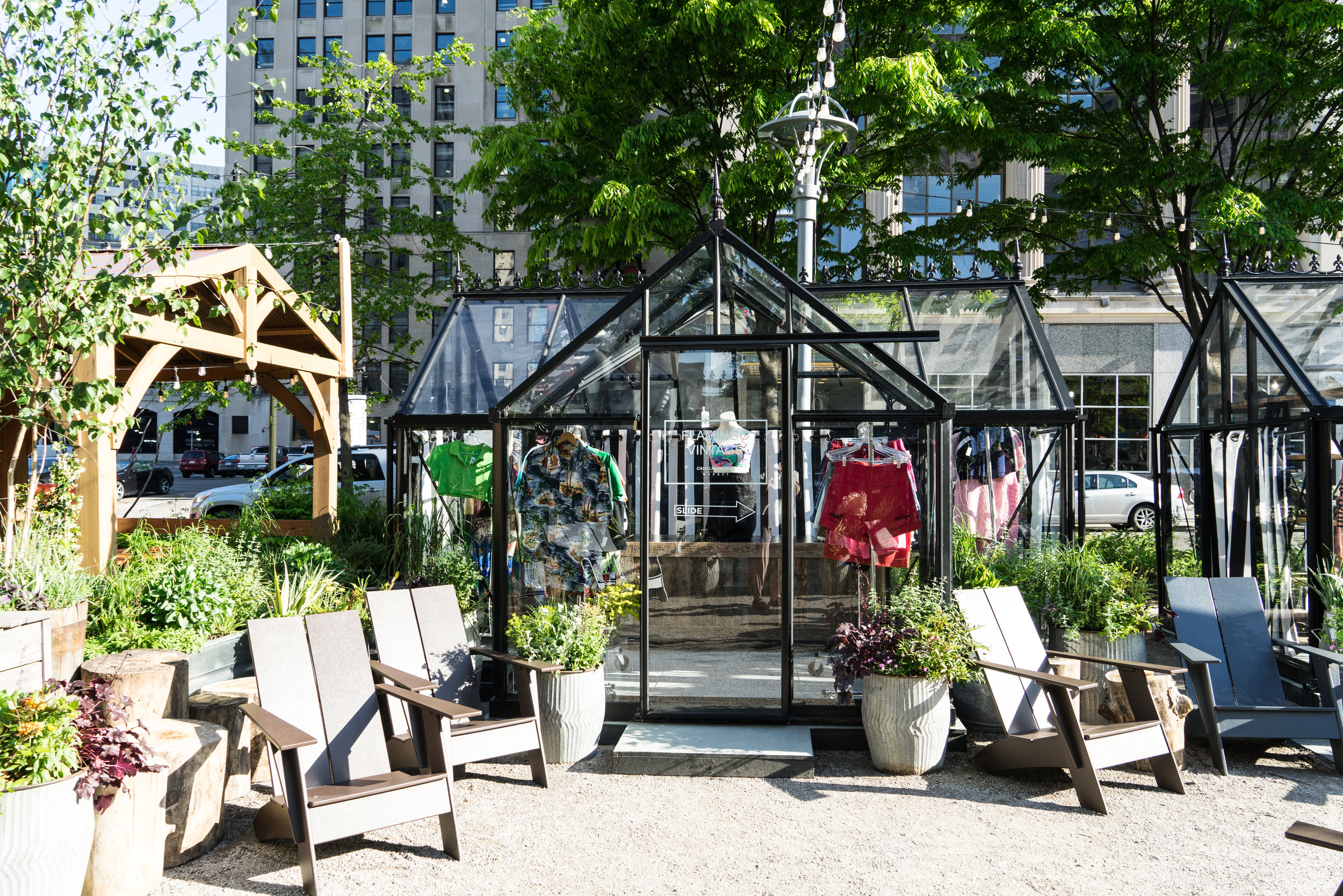 Glass pods throughout Cadillac Square & Capitol Park with local vendors