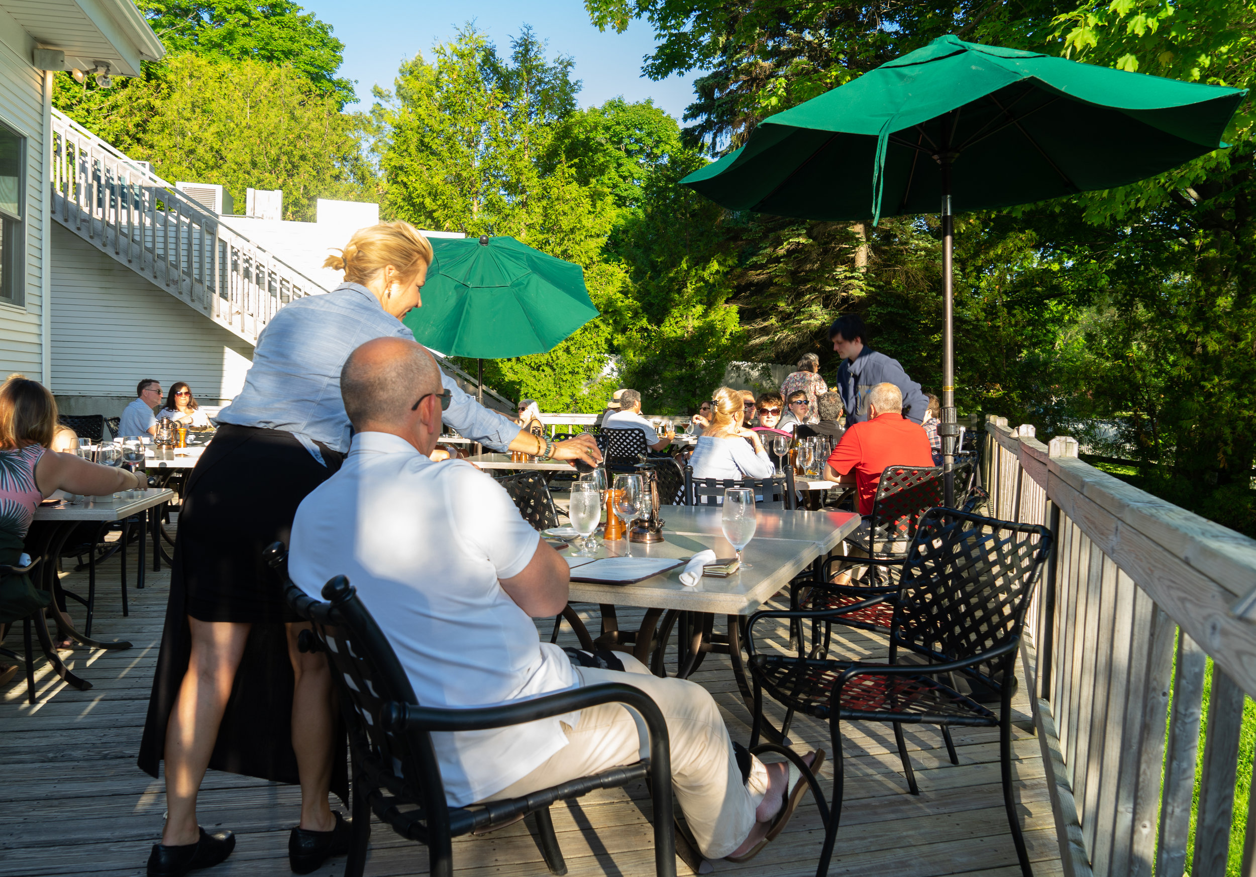 Back patio at the Riverside Inn